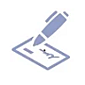 icon of a pen signing a check